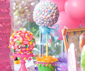 air balloon, candy, and flowers image