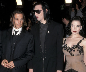 Dita von Teese, johnny depp, and Marilyn Manson image