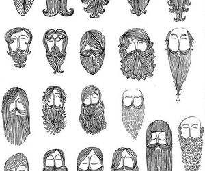 beard, hair, and drawing image