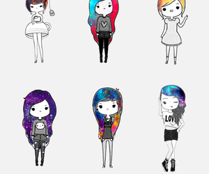 girl, galaxy, and hipster image