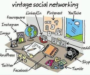 vintage, facebook, and twitter image