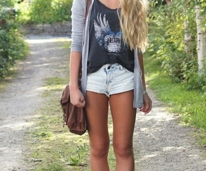 outfit, shorts, and blonde image