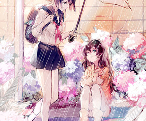 anime, rain, and umbrella image