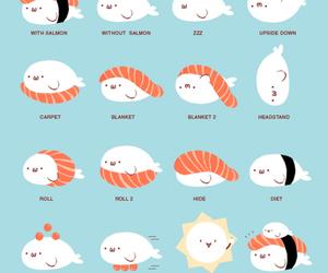 illustration, salmon, and sushi image