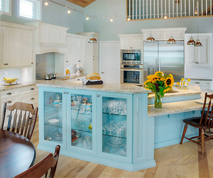 blue, house, and kitchen image