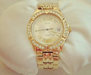 watch, gold, and guess image