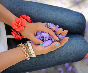 flowers, girl, and nails image