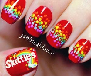 nails, skittles, and rainbow image