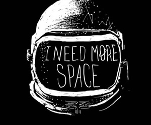space, astronaut, and black and white image