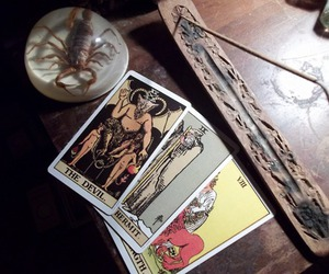 cards, tarot, and incense image