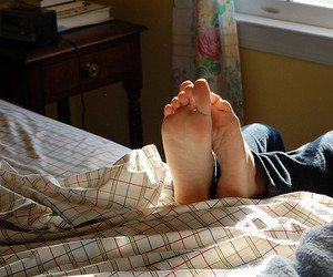 feet, light, and bed image