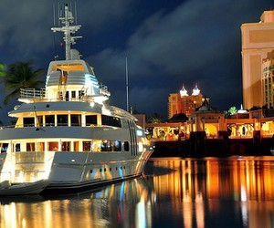 lights, sea, and yacht image