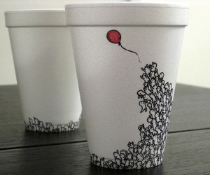cup, balloons, and red image