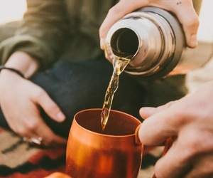 camping, hands, and tea image