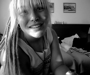 black and white, blonde, and blonde hair image