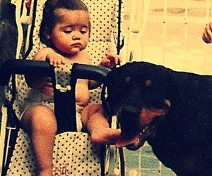 baby, younglove, and dog image