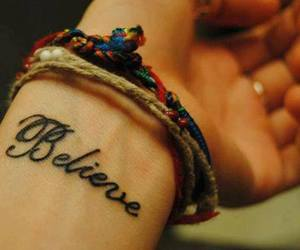 believe, tattoo, and bracelet image