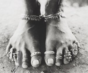 black and white, feets, and jewelry image