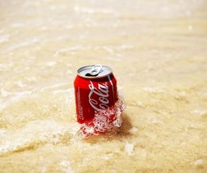 beach, coca cola, and sea image