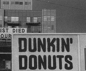 jesus, black and white, and donuts image