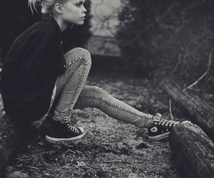 girl, converse, and black and white image