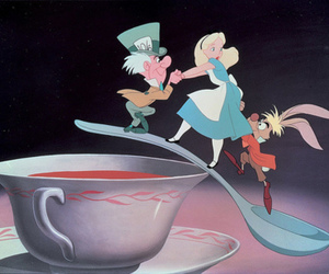 alice in wonderland, coffee, and march hare image