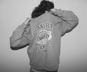 girl, lakers, and black and white image