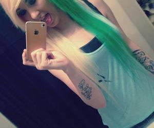 girl, green hair, and scene image