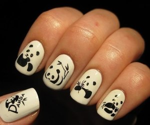 nails, panda, and black image