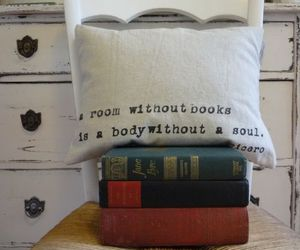 book, pillow, and room image