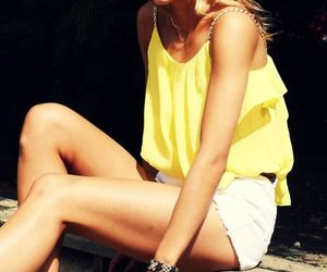 blonde, yellow, and outfit image