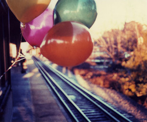 balloons, train, and photography image