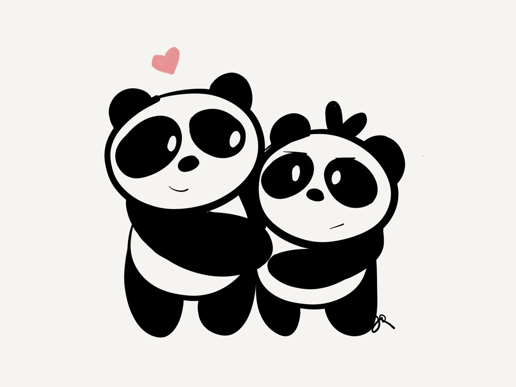 i draw pandas uploaded by f rever y ung on we heart it