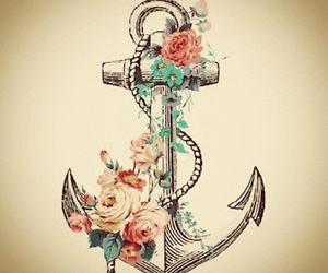 anchor, flowers, and tattoo image