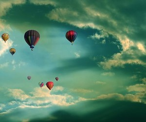 balloons, clouds, and sky image