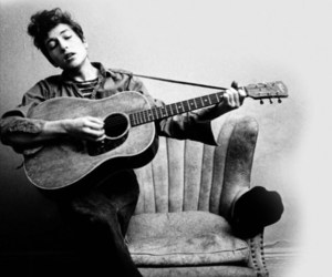 bob dylan, black and white, and guitar image