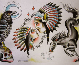 indian, indio, and ink image