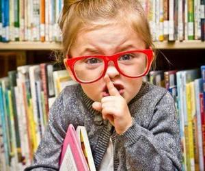 girl, shh, and glasses image