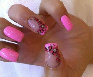 flowers, pink, and nail design image