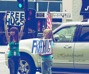 free hugs, girls, and hug image