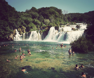waterfall, water, and people image