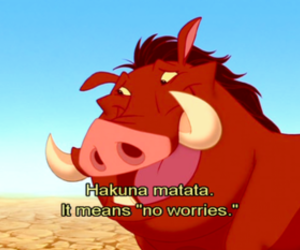 hakuna matata, no worries, and lion king image