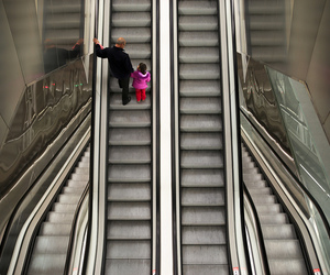 Barcelona, girl, and escalator image