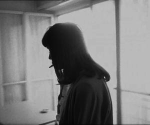 black and white, girl, and smoke image