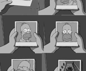black and white, homer simpson, and the simpsons image