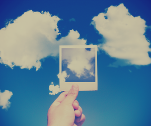 clouds, polaroid, and sky image