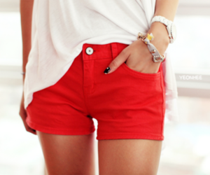 red, fashion, and shorts image