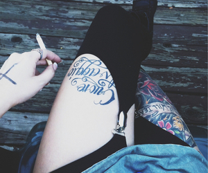 tattoo, smoke, and legs image