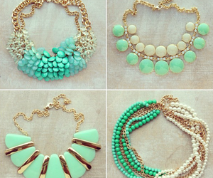 necklace, green, and accessories image