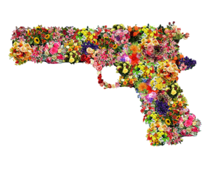 gun and flowers image